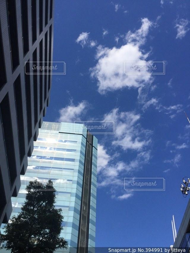 空,ビル,雲,青空,木場