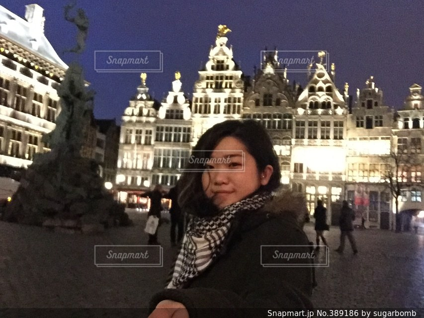 女性,セルフィー,欧州,ベルギー,アントワープ,女一人旅
