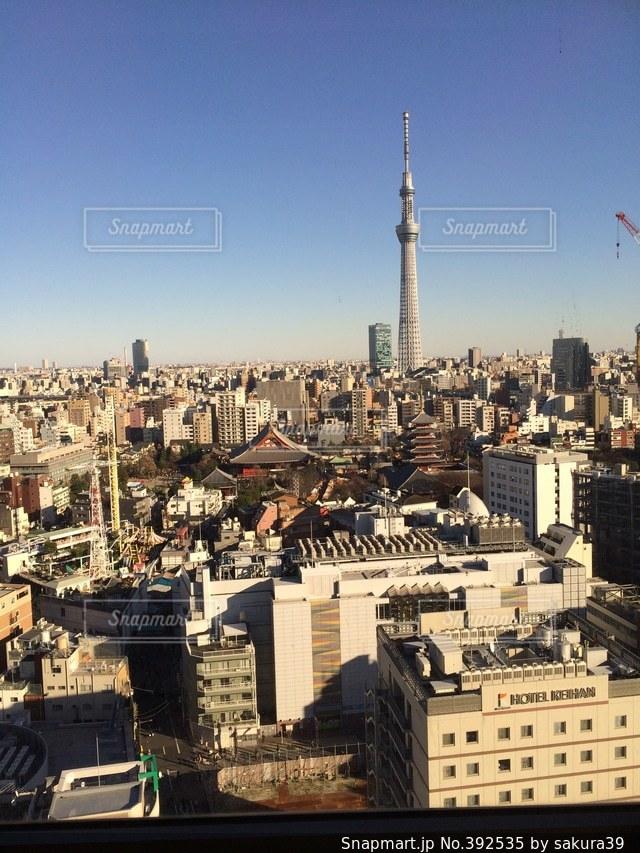 東京,青空,浅草,スカイツリー,浅草寺,初詣,ホテルからの景色