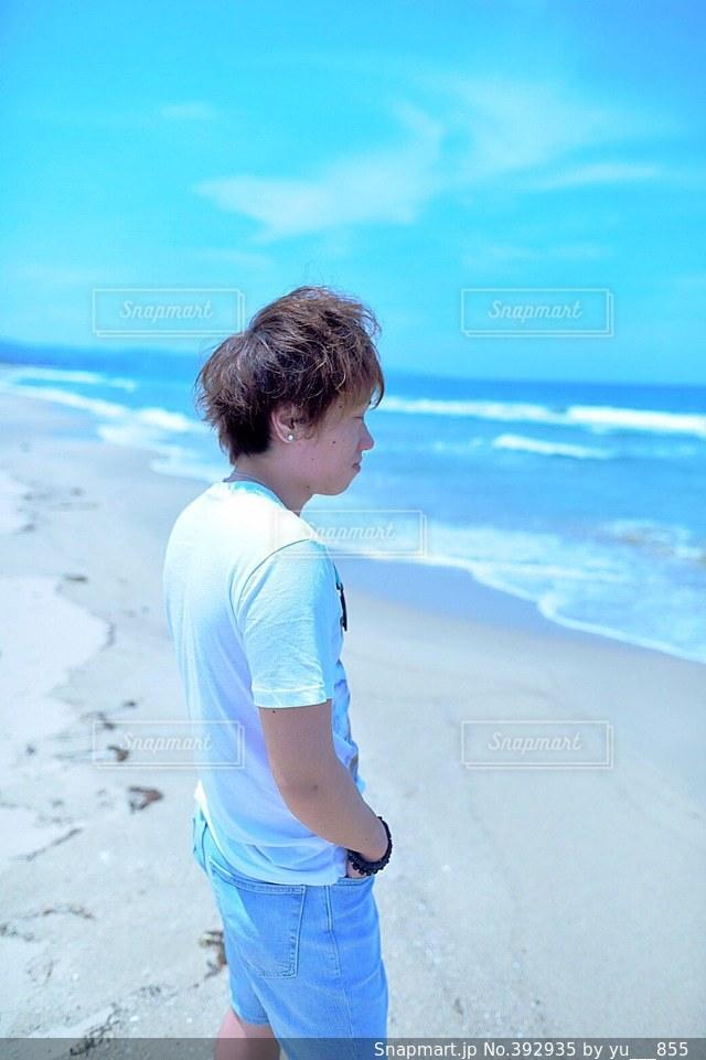 男性,モデル,海,夏