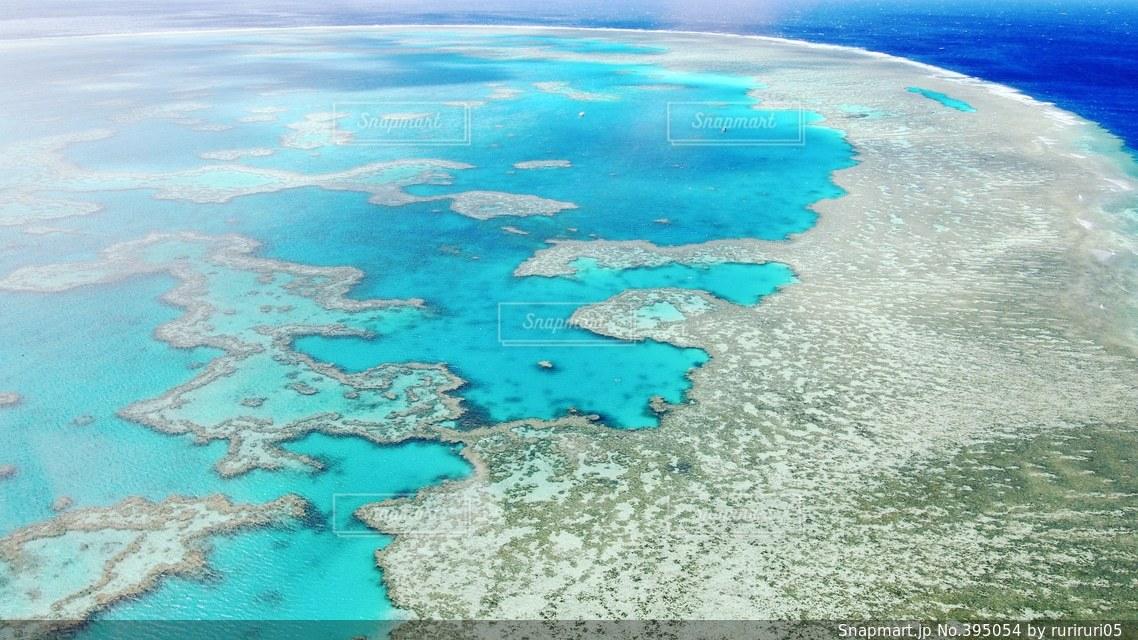 オーストラリアのグレートバリアリーフです!もう言葉が出ないぐらい圧倒されました。青い海の景色からサンゴがたくさんあるスポットへは別世界のよう(*^^*)こんな景色は初めてで、忘れられません!!の写真・画像素材[395054]