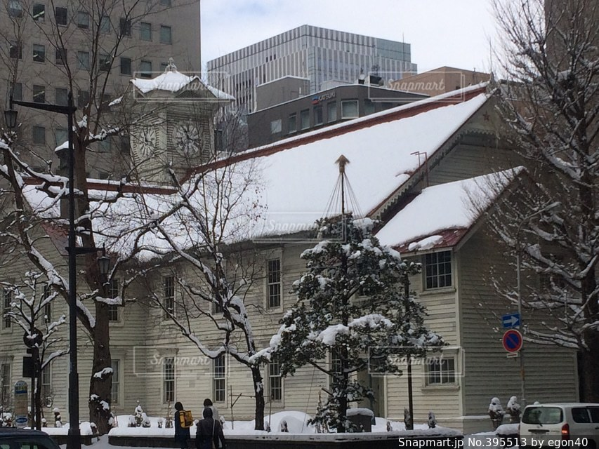 建物,冬,観光地,北海道,観光,旅行,時計台,札幌,町並み,有名,建築,さっぽろ時計台