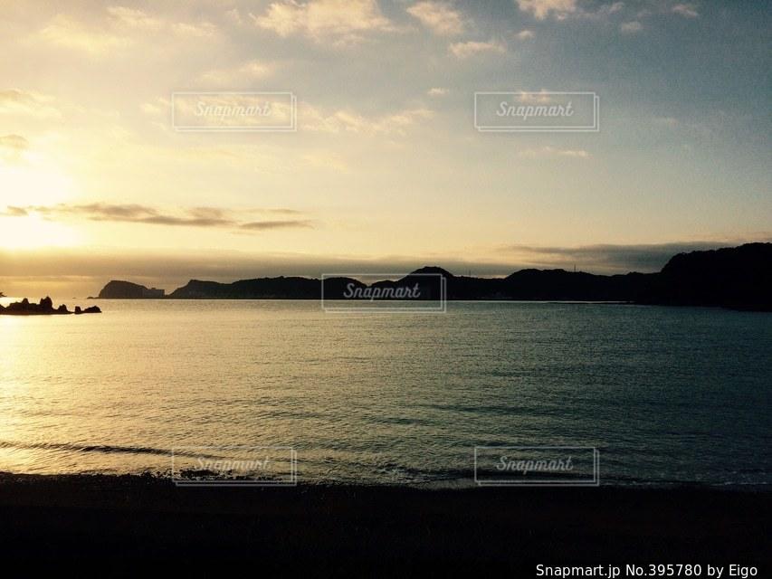 風景,海,朝焼け,海水浴場