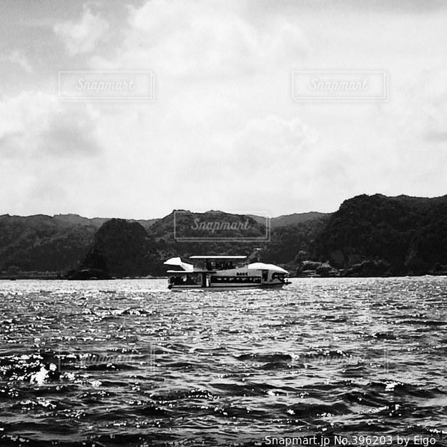風景,モノクロ,観光,客船,船上