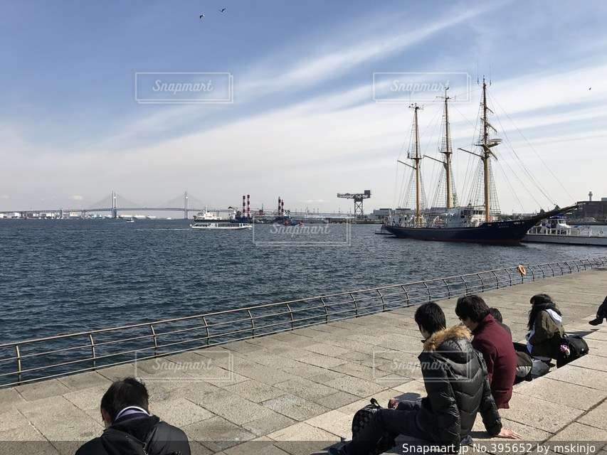 海,空,波,船,都市,デートスポット,風,横浜,湾岸,ベイブリッジ,港湾,水上バス,帆船,海浜