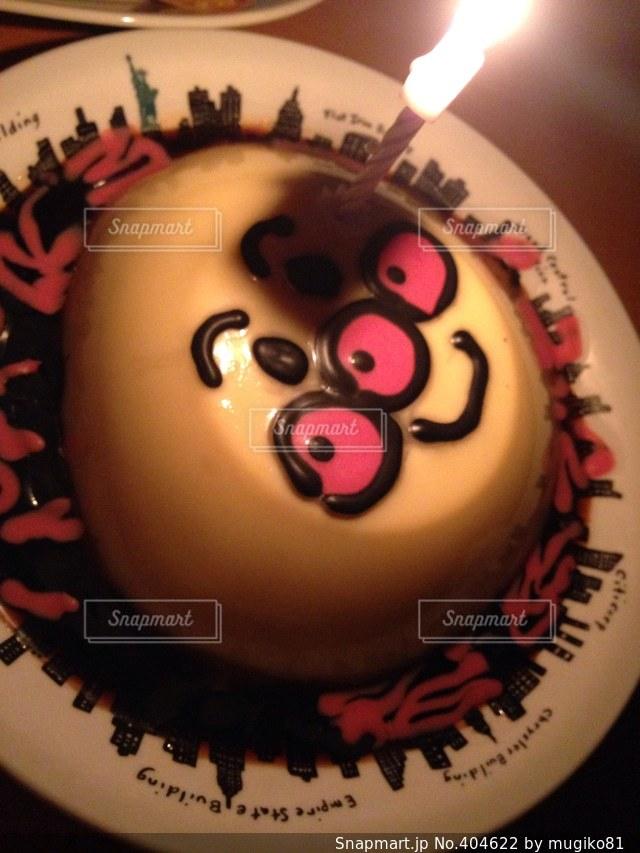 パーティ,ろうそく,おやつ,火,誕生日,プリン,鼻,目,アンパンマン,口