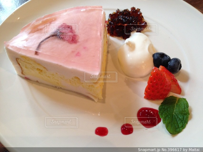カフェ,桜,ケーキ,癒し,桜のケーキ