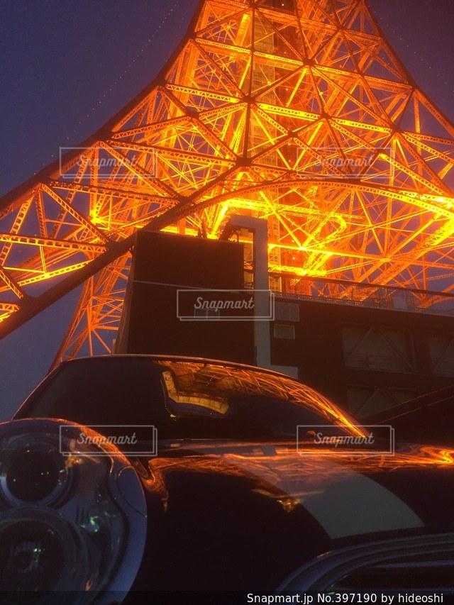 東京タワー,夜景,東京,車