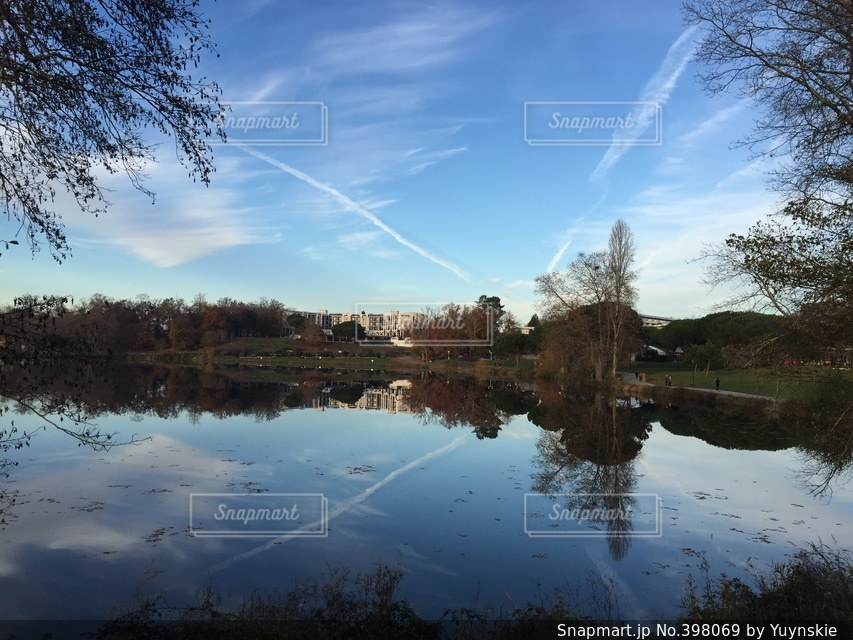 湖,海外,静か,青空,フランス,水鏡,秋空