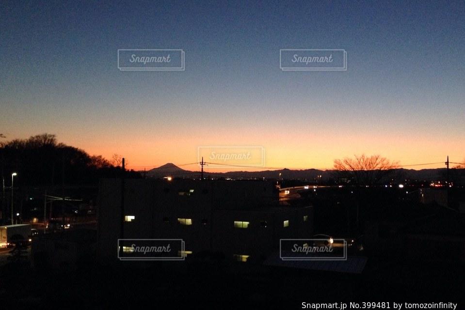 風景,富士山,夕焼け