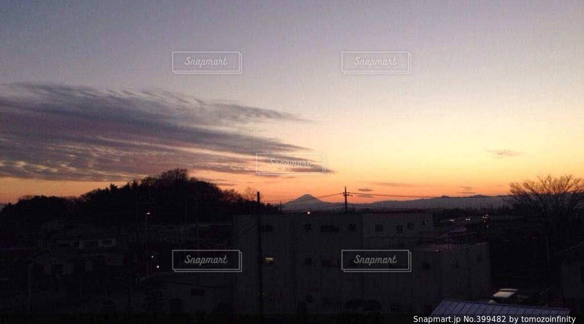 風景,空,富士山,夕焼け