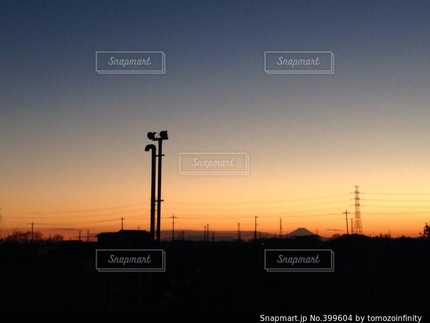 風景,富士山,夕焼け,街,電線