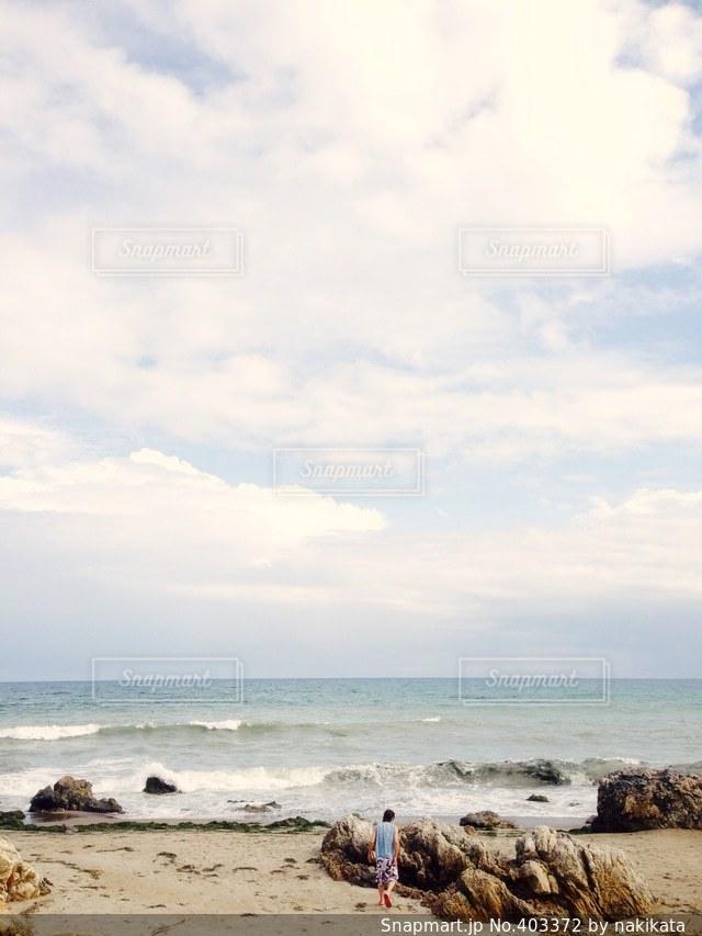 海,夏,景色,背景,リフレッシュ,殺風景,男の背中