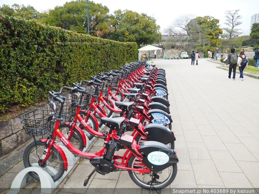 自転車,赤,散歩,広島,広島城,レンタル,レンタサイクル