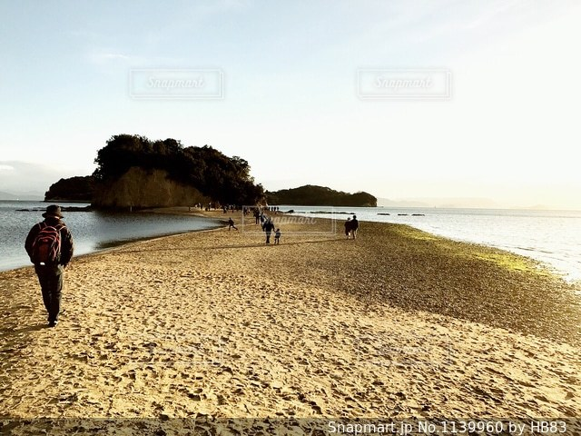 トンボロ現象「エンジェルロード」/小豆島の写真・画像素材[1139960]