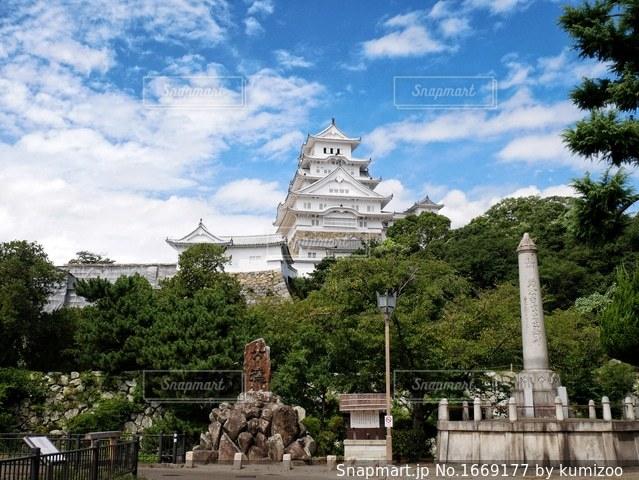 姫路城と石碑の写真・画像素材[1669177]