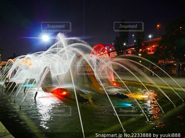 夜の噴水の写真・画像素材[2233888]