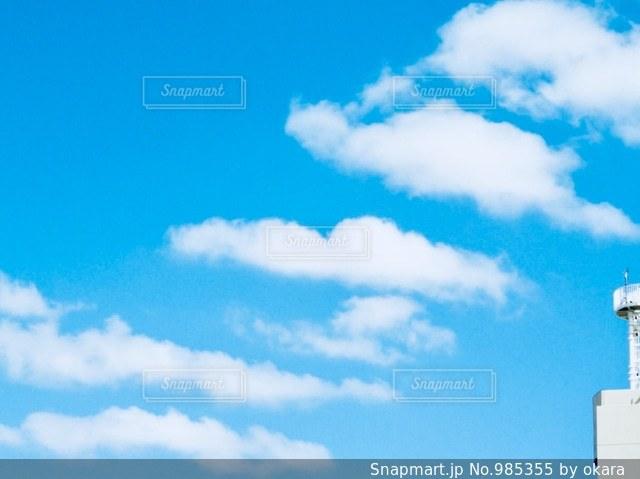 近くの青い曇り空の写真・画像素材[985355]