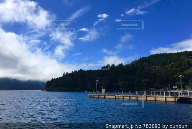 水の体の横に座っている青と白のボート - No.783093