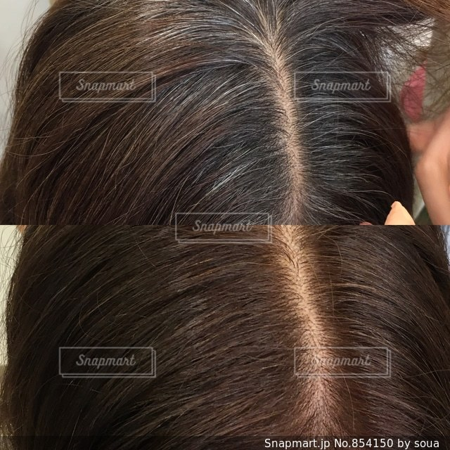白髪染のBefore afterの写真・画像素材[854150]
