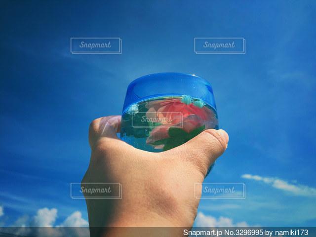 青いコップを持つ手の写真・画像素材[3296995]