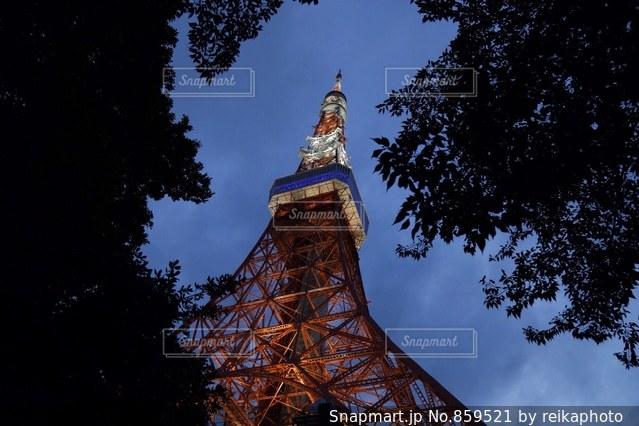 ライトアップされた東京タワーの写真・画像素材[859521]