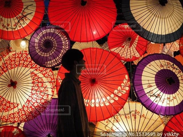 和傘と僕の写真・画像素材[1533695]