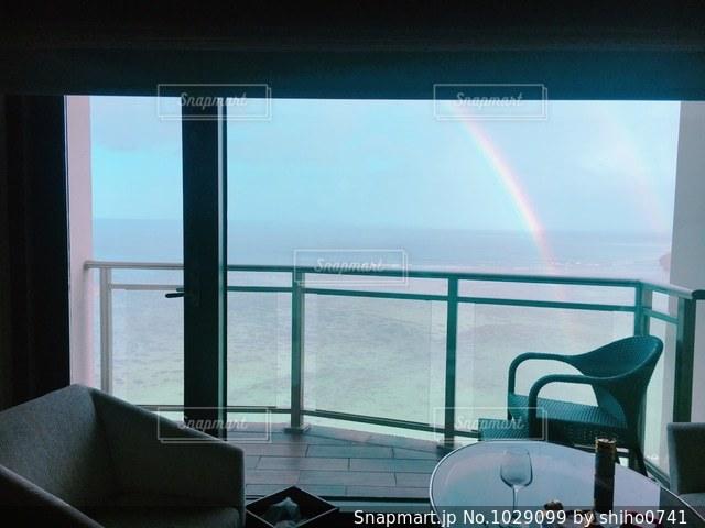 ホテルから虹の写真・画像素材[1029099]