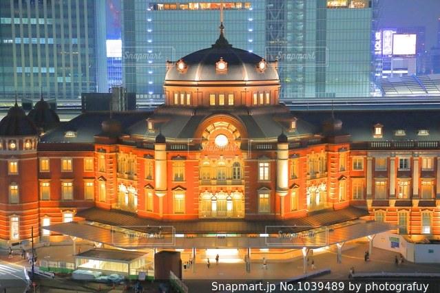 斜め上から東京駅舎の写真・画像素材[1039489]