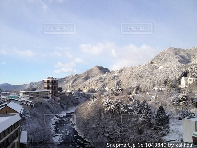 鬼怒川の冬景色の写真・画像素材[1048840]