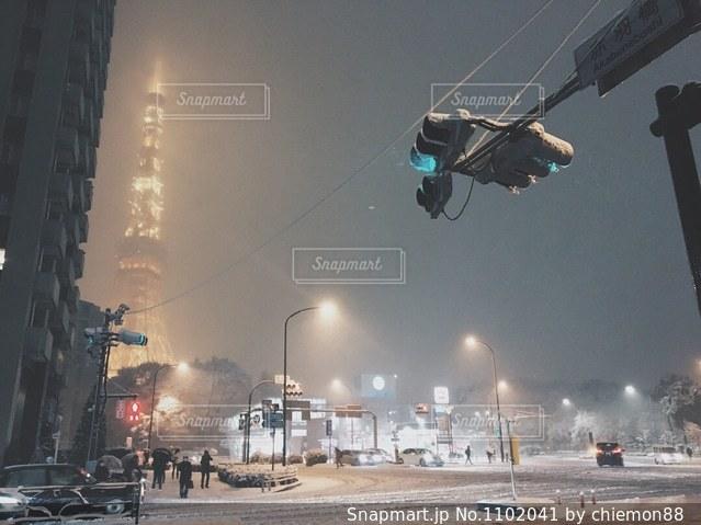 雪の中の東京タワーの写真・画像素材[1102041]