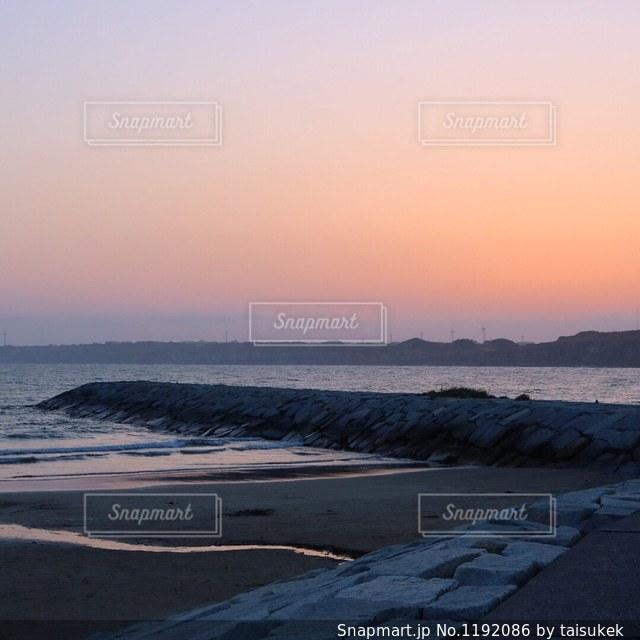 千葉銚子、屏風ヶ浦の夕焼け空ですの写真・画像素材[1192086]
