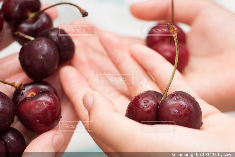 女性,食べ物,植物,赤,手,子供,果物,甘い,チェリー,アメリカンチェリー,肌色