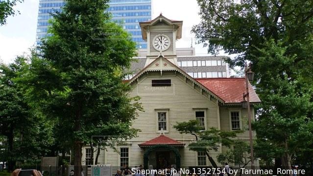 夏の札幌時計台の写真・画像素材[1352754]