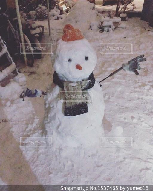 雪だるま作ろうの写真・画像素材[1537465]