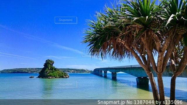 古宇利大橋と海の写真・画像素材[1387044]