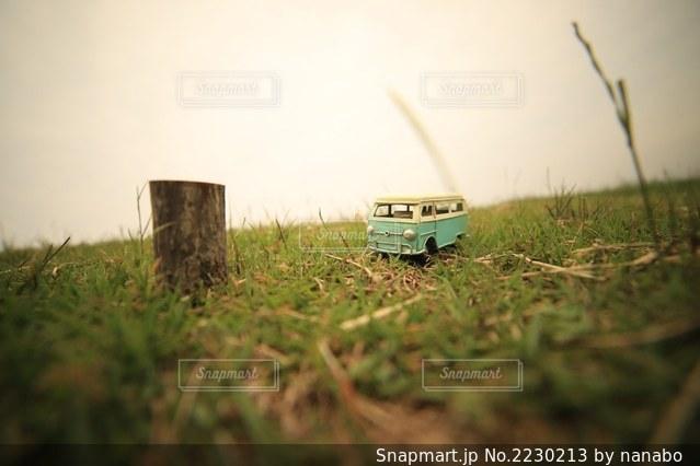 草むらに置いたおもちゃのレトロバスの写真・画像素材[2230213]