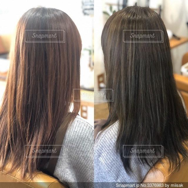 女性の髪の毛、カラー、ビフォーアフターの写真・画像素材[3376983]