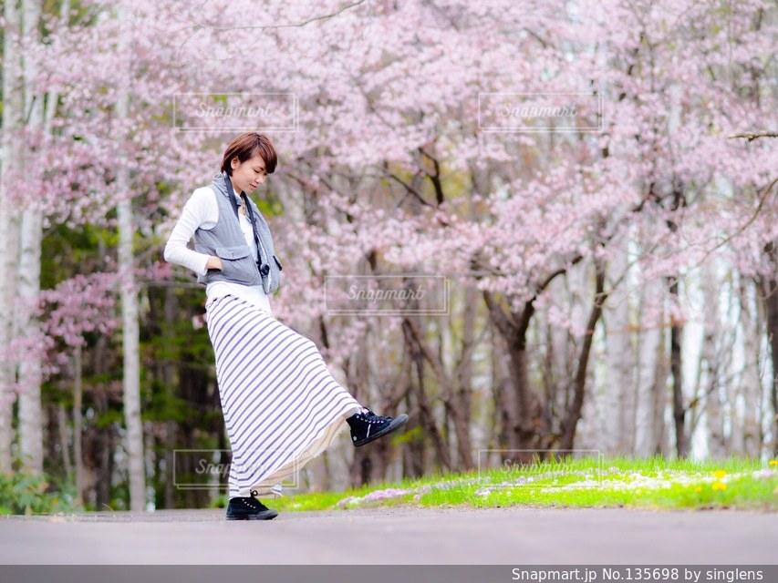 女性,恋人,友だち,1人,モデル,20代,ファッション,自然,アウトドア,公園,春,カメラ,桜,カメラ女子の写真素材