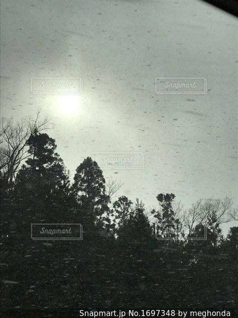 車内から見た吹雪の空の太陽の写真・画像素材[1697348]