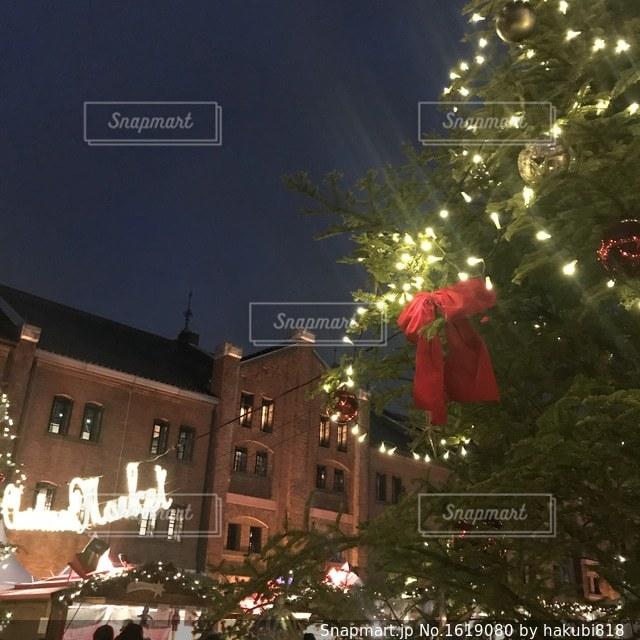 クリスマス ツリーの横にある道を歩いて人々 のグループの写真・画像素材[1619080]