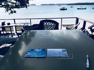 海,海外,船,景色,手紙,椅子,テーブル,旅行