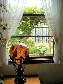 窓の横のテーブルの上の花の花瓶の写真・画像素材[2169915]