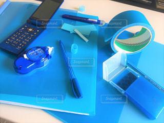 ブルーの文具用品2の写真・画像素材[2290595]