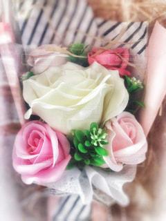 花,ピンク,緑,白,花束,バラ,プレゼント,可愛い,グリーン,ストライプ,石鹸,ファンシー,フレグランスソープ