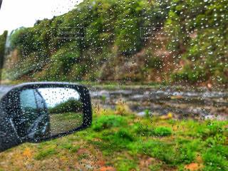 自然,風景,雨,屋外,車,水滴,川,景色,河原,鏡,草,樹木,雫,ミラー,バックミラー,しずく,草木,雨の日,緑色