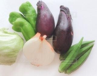 食べ物,風景,屋内,緑,白,野菜,食品,レタス,ピーマン,オクラ,テーブルフォト,玉ねぎ,素材,食材,夏野菜,フレッシュ,ベジタブル,ナス,配置