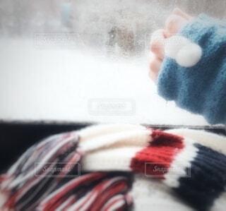 雪景色を窓際から手袋をつけて見る女性の手の写真・画像素材[4045299]