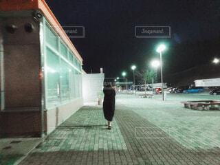 サービスエリアで歩く女性の写真・画像素材[4415348]
