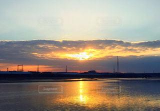 風景,空,屋外,太陽,ビーチ,雲,綺麗,夕暮れ,川,水面,反射,光,写真